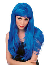 Ladies Blue Katy Perry Pop Star Long Glamour Wig Fancy Dress Accessory Hen Night