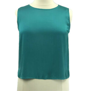 Eileen-Fisher-Top-Women-s-Sleeveless-Green-100-Silk-Blouse-Size-Large