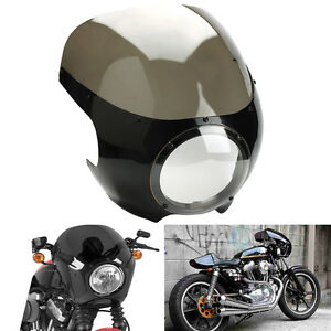 Moto-Fumee-Cafe-Racer-5-3-4-034-phare-Carenage-Pare-Brise-Pour-Harley-Sportster-Dyna
