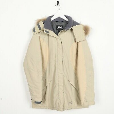 Vintage HELLY HANSEN Small Logo Padded Hooded Coat Jacket Beige Large L | eBay