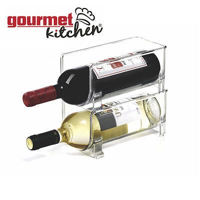 Kitchen Fridge Wine Holder Refrigerator Wine Bottle Rack Container Space Saver