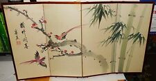 SMALL OLD CHINESE BIRDS ON BAMBOO WATERCOLOR SILK 4 PANEL SCREEN PAINTING SIGNED