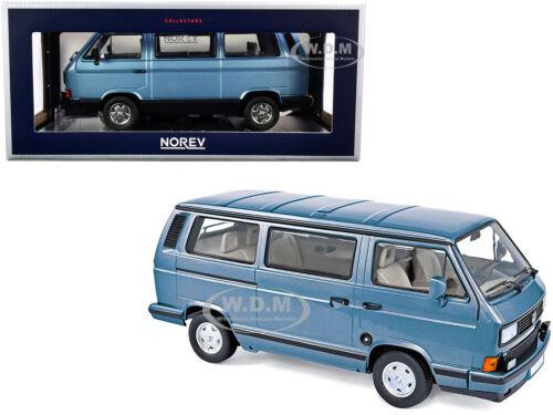 1990 VOLKSWAGEN MULTIVAN BUS LIGHT BLUE MET 1//18 DIECAST MODEL BY NOREV 188544