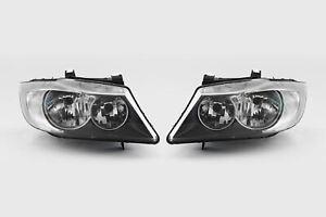 BMW-3-Series-E90-E91-05-08-Black-Headlights-Headlamps-Set-Pair-Driver-Passenger