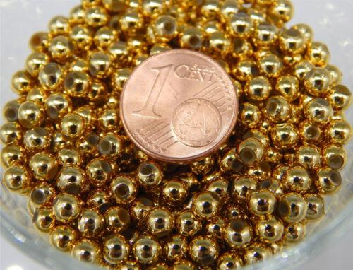 1000 bastelperlen 4 mm MINI PERLES GOLD METALLIC Acrylique zb Pour Perles étoiles