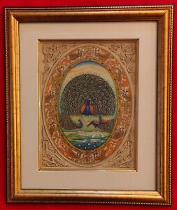 Hand-Painted-Peacock-Bird-Miniature-Painting-India-Framed-Artwork-Carving
