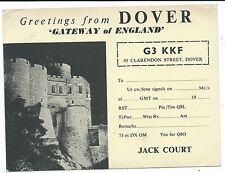 KENT - DOVER (Jack Court) QSL Radio Transmission Confirmation Postcard G3KKF