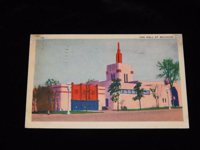 Vintage Postcard,CHICAGO, ILLINOIS, IL,1933 World's Fair, Hall Of Religion,To KY