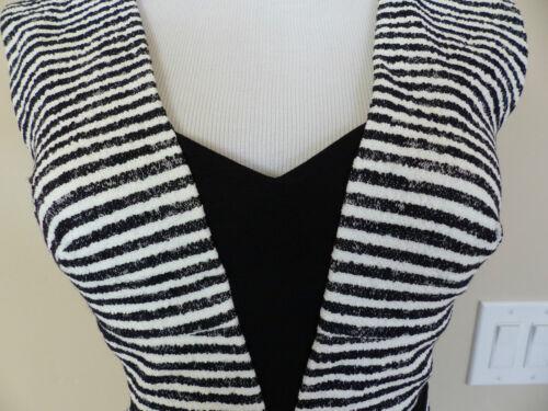 NEW BCBG MAXAZRIA Piper V-Neck Striped Peplum black white Dress 0//2//4 $338