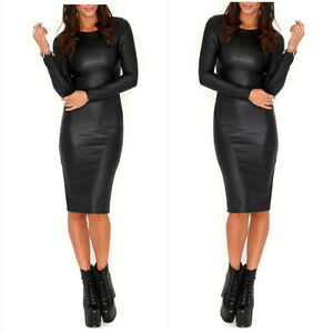 Womens Wet Look Midi PVC Faux Leather Dress Bodycon Long Sleeves ...
