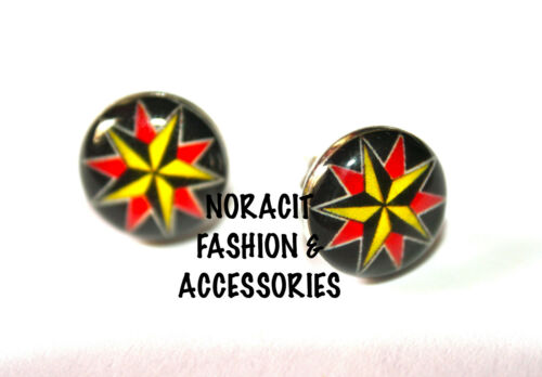 Oil Design Earrings Stainless Steel Stud *DOUBLE COLORED STAR* ODE164