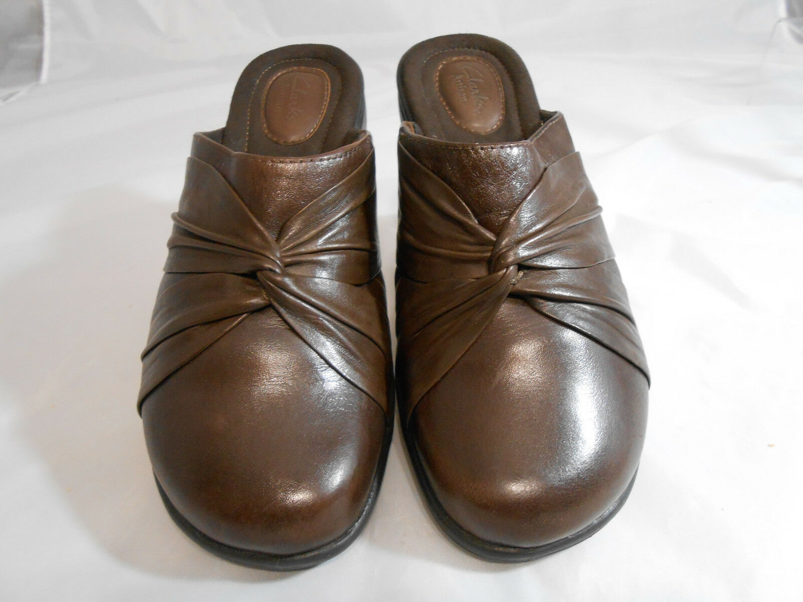 Clarks Artisan 31048 Brown Leather Wedge Mules M Shoes Womens Size 7.5 M Mules 7ac699