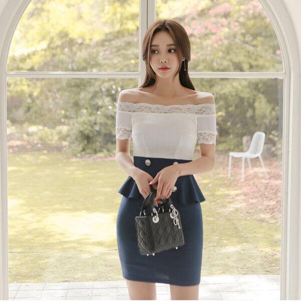 106bbbde30d2 Elegante vestito abito corto tubino blu bianco scuro lungo slim 4373 morbido  nnlliv8368-Vestiti