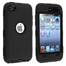 Dual Flex Hard Hybrid Gel Case for  iPod Touch 4th Gen - Black/Black
