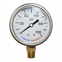 Oil Filled Pressure Gauge 1000 Psi 2-1/2' Dial 1/4' Npt Bottom Mount G7022-1000