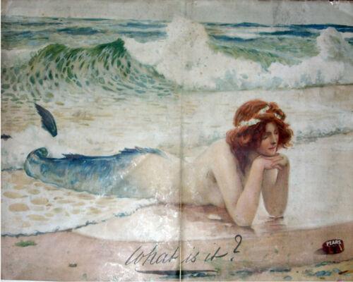 VINTAGE ADVERTISING ENAMEL METAL TIN SIGN WALL PLAQUE Pears Soap Mermaid