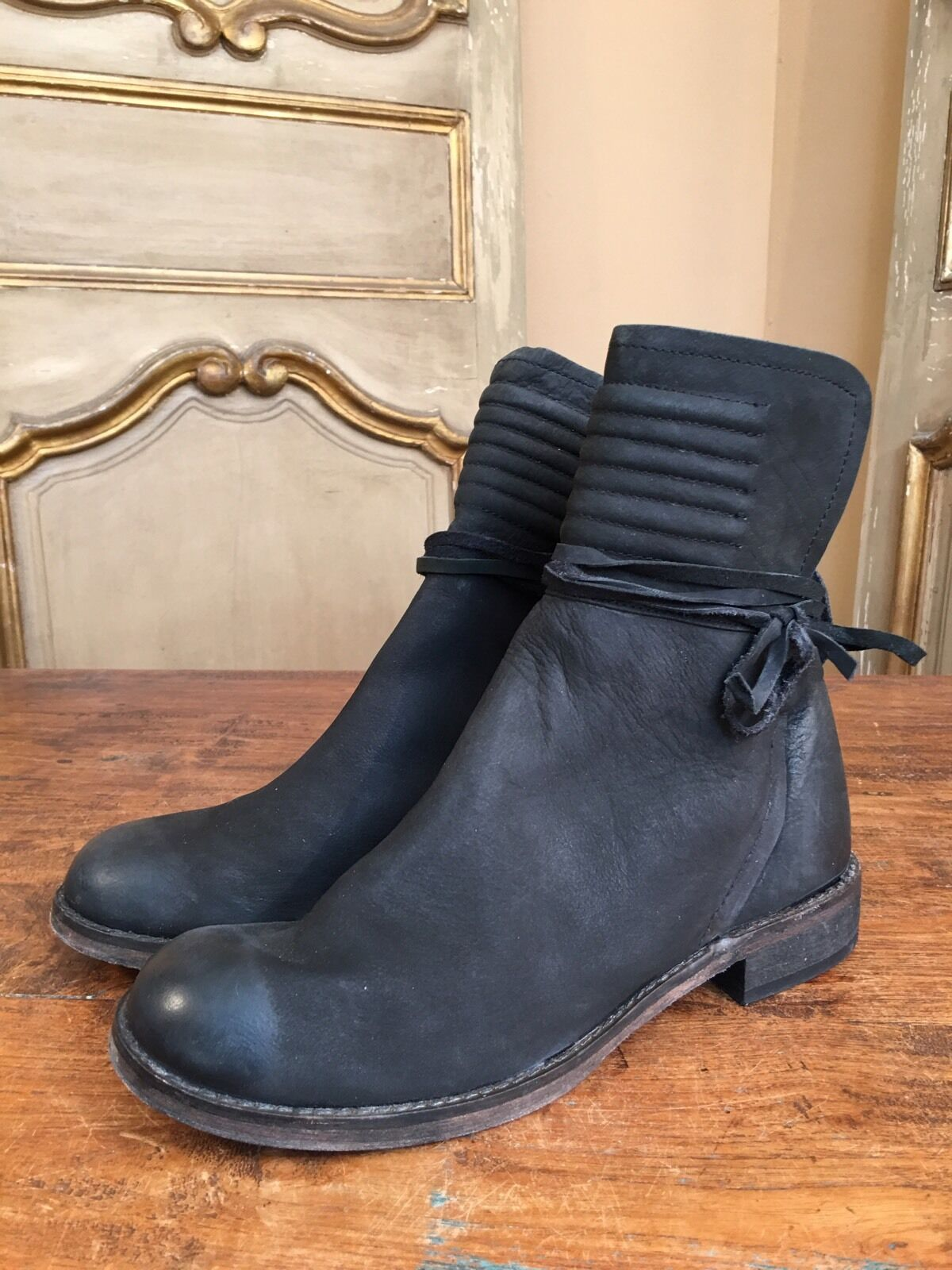 New Free People Ankle Campus Womens Hiker Boots In Size 7.5 Euro 38 Black Suede