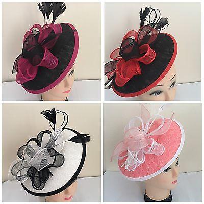 New Pretty 25cm Headband/&Clip Hat Fascinator Weddings//LadiesDay Race Royal Ascot