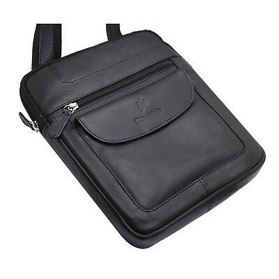 Starhide Unisex Real Leather Cross Body Travel Messenger Ipad bag 505 Black