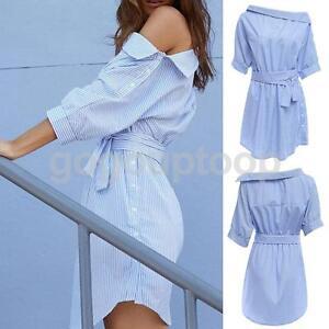 56f733a943 Women s Blue Off Shoulder Stripes Button Side Bow Tie Waist Dress ...