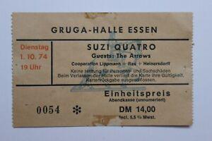1974 Suzi Quatro concert ticket biglietto gruga Halle (01-10-1974) ORIGINALE