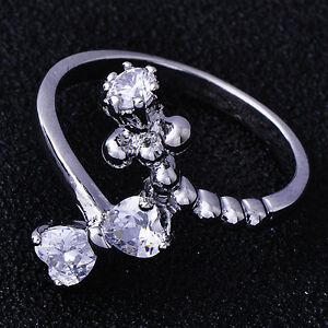 Womens-white-Gold-Plated-clear-Crystal-Bowknot-Lady-Rings-Fashion-size-7