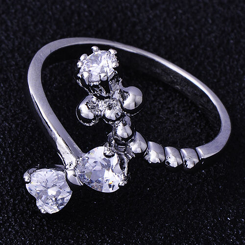 Womens white Gold Plated clear Crystal Bowknot Lady Rings Fashion size 7