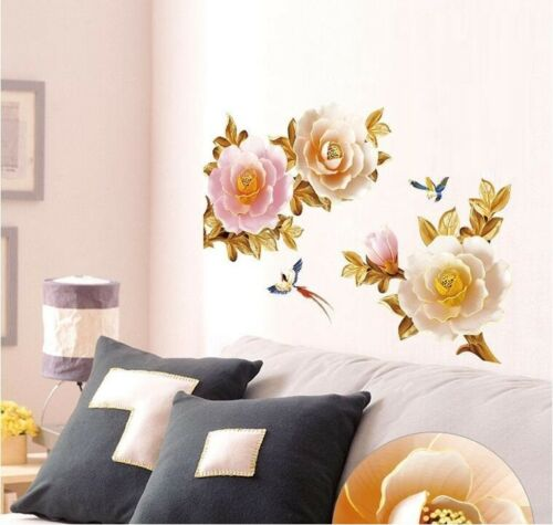 Removable Wall Sticker Peony Vine Wall Decal Mural Living Room Bedroom