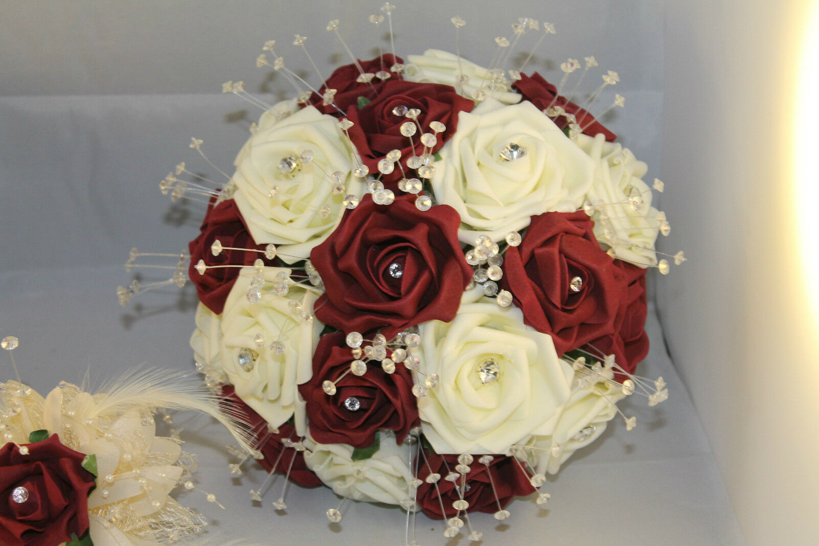 BRIDAL BOUQUET BURGUNDY & IVORY 10  DIAMETER LARGE BOUQUET