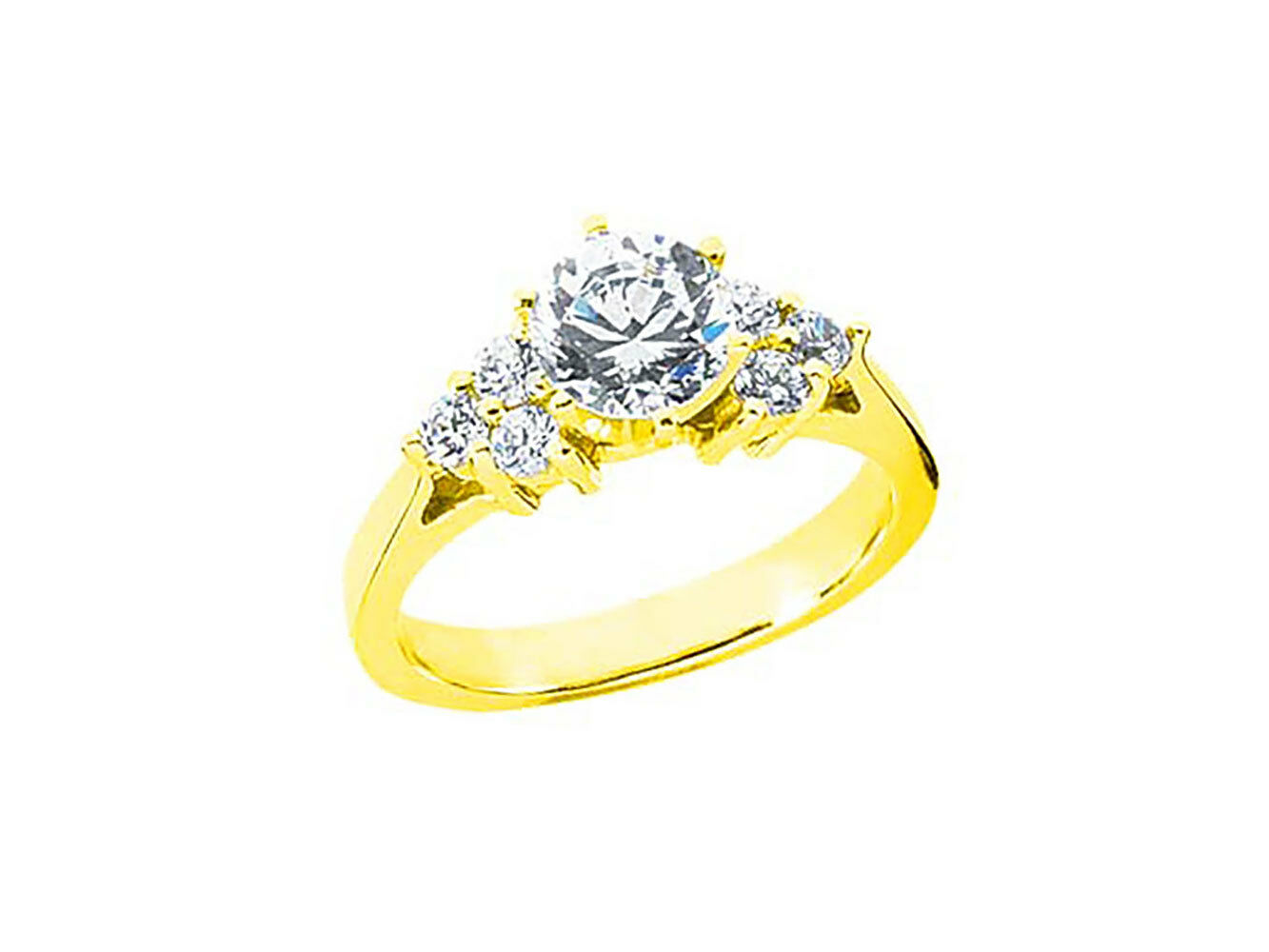 0.90Ct Round Diamond Open Gallery Engagement Ring Solid 10k gold HI SI2