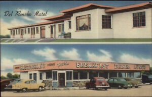 Washington-Court-House-OH-Del-Rancho-Motel-ROADISDE-LINEN-Old-Cars-PC