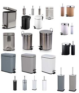 6L-5L-Square-Stainless-Steel-Kitchen-Rubbish-Waste-Dust-Pedal-Bin-amp-Toilet-Brush