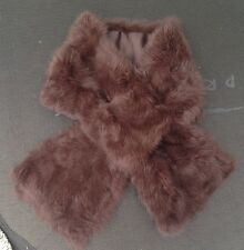 dark brown real genuine rabbit fur pelt collar scarf satin lining 92cm x 16cm