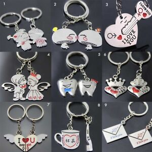 2PCS Set New Couple I Love You Letter Keychain Heart Key Ring For ... 87a841400c