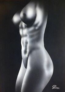 Dibujo de una niña desnuda # 159. Aerografía.