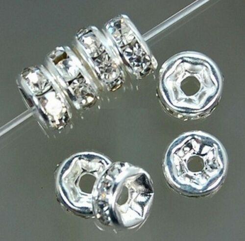 Lot 5-10-20-50 Pieces Perle Strass Intercalaire Argenté 8mm Rondelle Creation bi