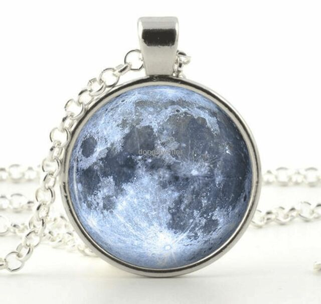 Glass Photo Necklace - Silver Full Moon Pendant - Blue Outer Space Jewelry Gift