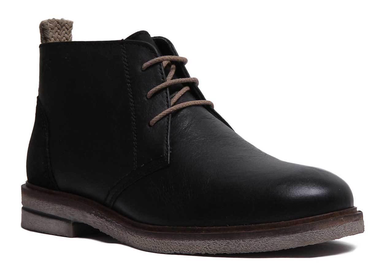 Josef Seibel Stanley 02 para Hombre de Cuero Negro botas al tobillo con cordones Talla