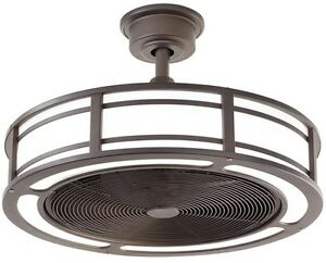 Modern Indoor Outdoor Ceiling Fan Bronze Drum Enclosed LED Light ...