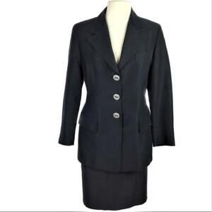 Escada Elements Women US 10 EU 38 Silk Blend Skirt Suit Fitted 3 Button LS Gray