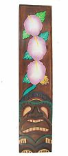 Tiki Schild aus Holz in 100cm Tiki Hawaii Style Feng Shui Lounge Blumen Motiv
