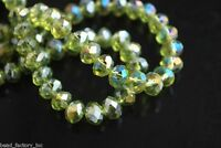 100Pcs Loose Olive Green AB Crystal Glass Faceted Rondelle Bead 6mm Spacer