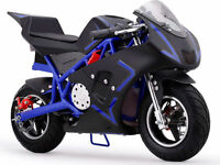 Motorcycle Pocket Bike Mini 40cc Gas Powered Blue Boys Girls Youth Ride On