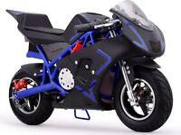 Motorcycle Pocket Bike Mini 40cc Gas Powered Blue Boys Girls Youth Ride On