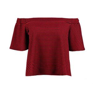 54a9506d3ed97 Boohoo Red & Black Gingham Bardot Off shoulders Top Size 6 10 B1-40 ...