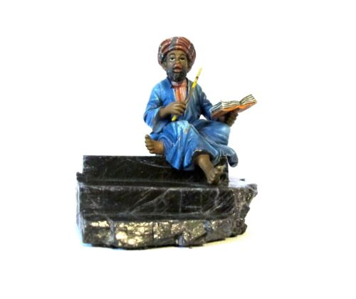 Antique Vienna bronze, arab man on marble base #937