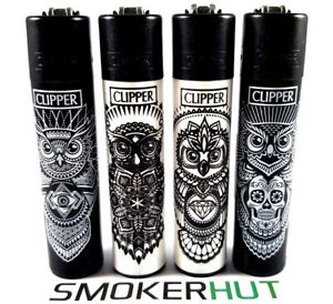 Clipper-Lighter-Set-Owls-Tattoo-Animals-Black-White-Rare-Collection-x4-pcs