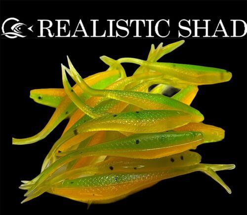 Realistic Shad 6cm Gudgeon Split Tail Predator Tackle X10 Lures