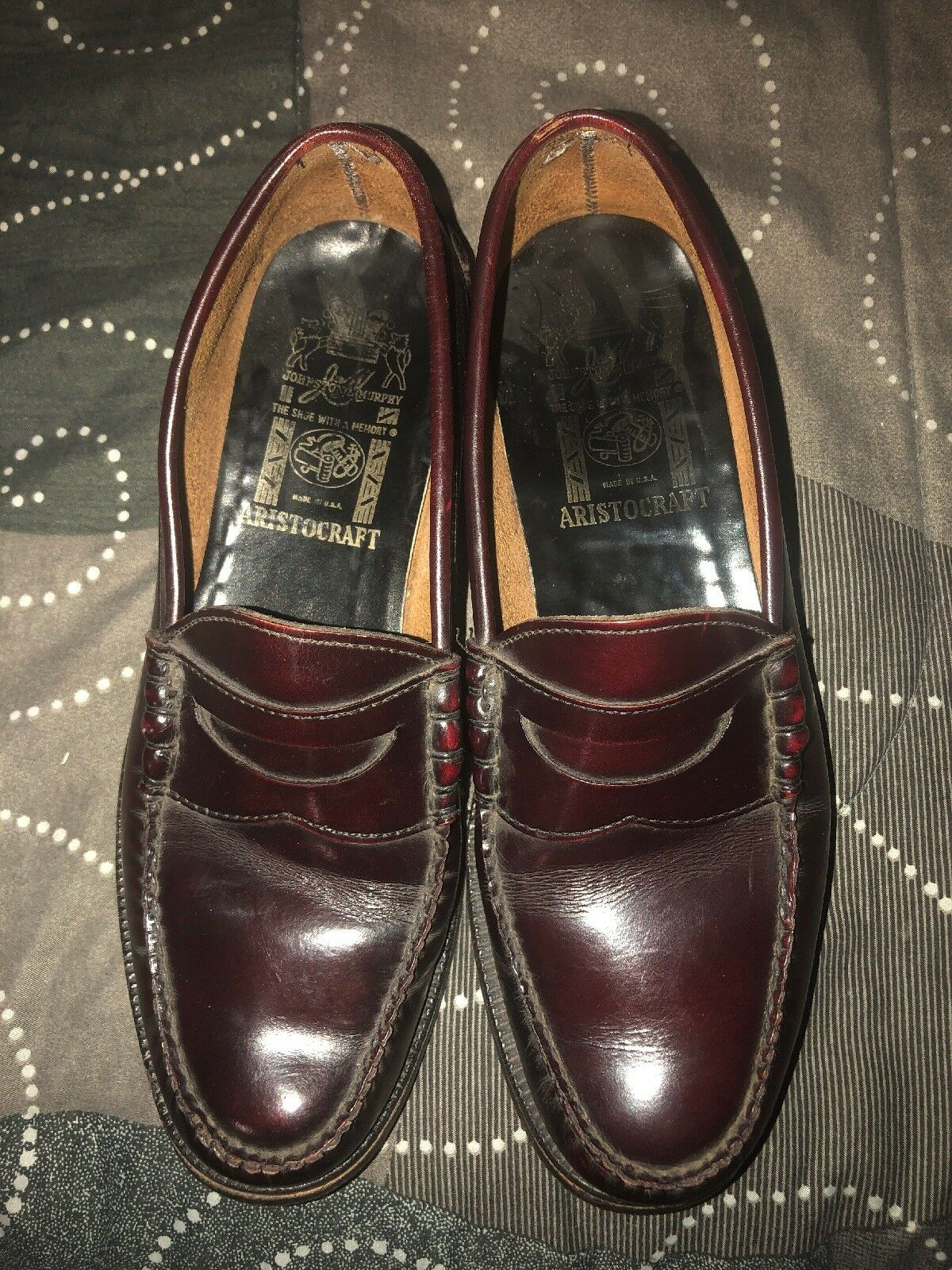 VINTAGE Johnston Murphy Mens Leather Slip On Dress Loafers Oxfords Size 9 Brown
