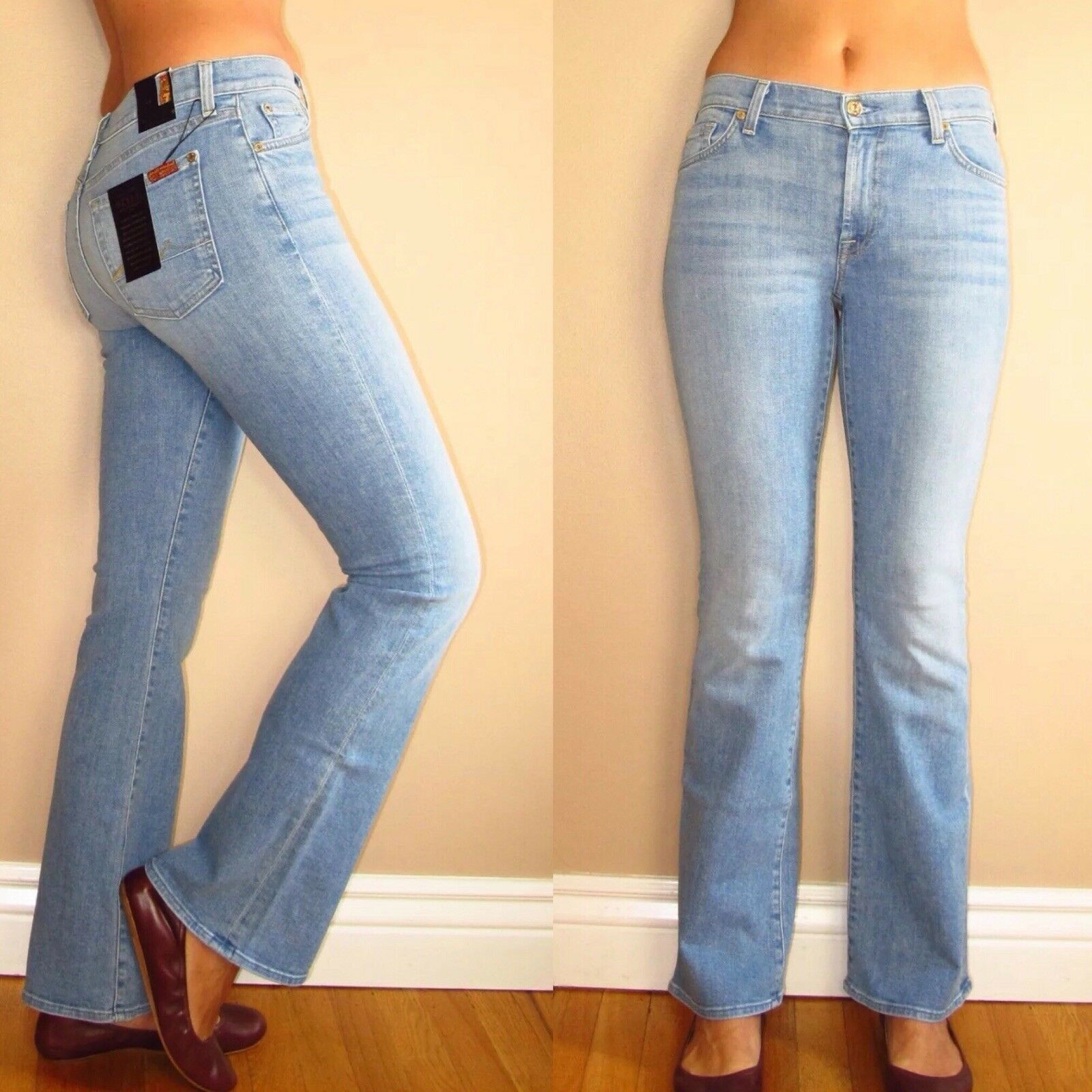 New 7 For All Mankind Bootcut Petite Tailorless Womens Jeans Light Wash 24